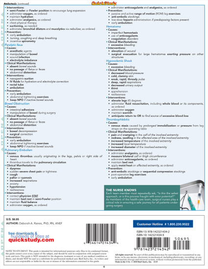 Quick Study QuickStudy Nursing: Surgical Laminated Study Guide BarCharts Publishing Medical Guide Back Image