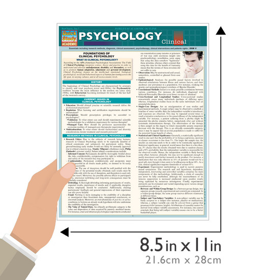Quick Study QuickStudy Psychology: Clinical Laminated Study Guide BarCharts Publishing Science Guide Size