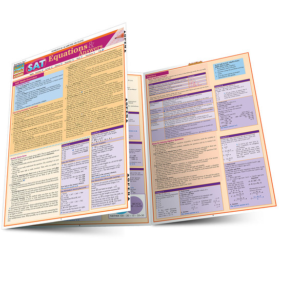 Quick Study QuickStudy SAT: Equations & Answers Laminated Study Guide BarCharts Publishing Education Reference Guide Main Image