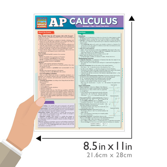 Quick Study QuickStudy AP Calculus Laminated Study Guide BarCharts Publishing Academic Math Guide Size