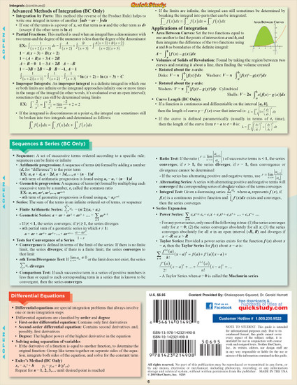 Quick Study QuickStudy AP Calculus Laminated Study Guide BarCharts Publishing Academic Math Guide Back Image