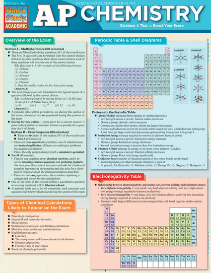 Quick Study QuickStudy AP Chemistry Laminated Study Guide BarCharts Publishing Advanced Science Education Cover Image