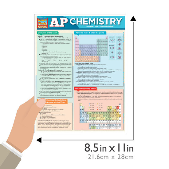 Quick Study QuickStudy AP Chemistry Laminated Study Guide BarCharts Publishing Advanced Science Education Guide Size