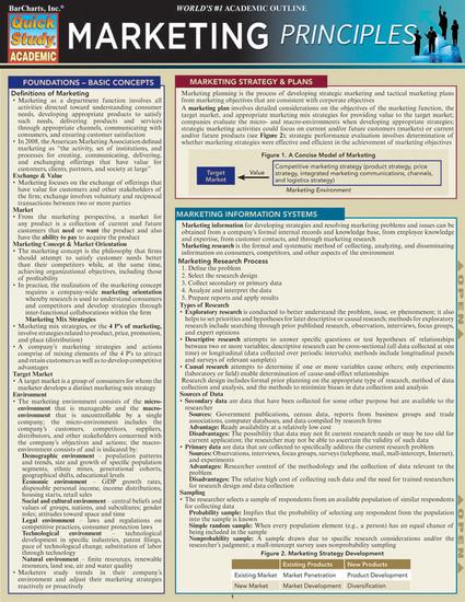 QuickStudy   Marketing Principles Laminated Study Guide
