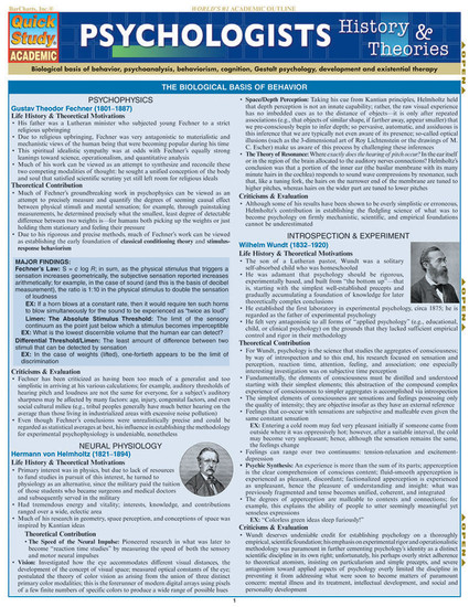 Quick Study QuickStudy Psychologists: History & Theories Laminated Study Guide BarCharts Publishing Social Science Reference Cover Image