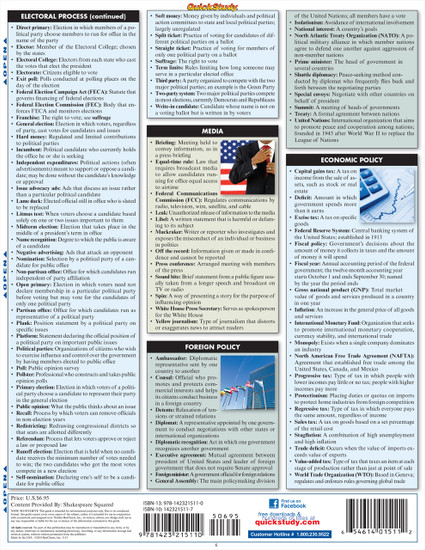 Quick Study QuickStudy U.S. Government Terminology Laminated Study Guide BarCharts Publishing Guide Back Image