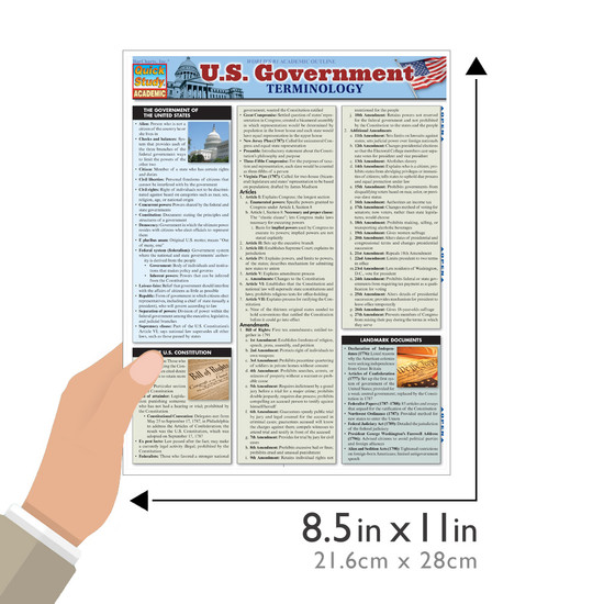 Quick Study QuickStudy U.S. Government Terminology Laminated Study Guide BarCharts Publishing Guide Size
