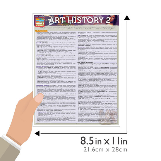 Quick Study QuickStudy Art History 2 Laminated Study Guide BarCharts Publishing History of Art Guide Guide Size