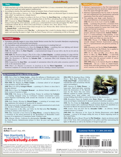 Quick Study QuickStudy Art History 2 Laminated Study Guide BarCharts Publishing History of Art Guide Back Image