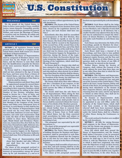 QuickStudy Quick Study US Constitution Laminated Study Guide BarCharts Publishing Reference Guide Cover Image