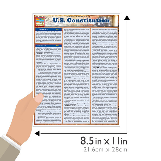 QuickStudy Quick Study US Constitution Laminated Study Guide BarCharts Publishing Reference Guide Size