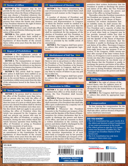 QuickStudy Quick Study US Constitution Laminated Study Guide BarCharts Publishing Reference Guide Back Image