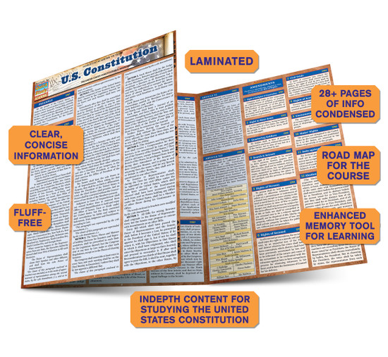 QuickStudy Quick Study US Constitution Laminated Study Guide BarCharts Publishing Reference Guide Benefits