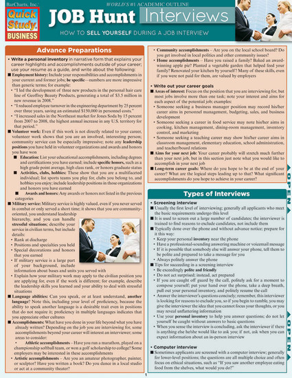 Quick Study QuickStudy Job Hunt: Interviews Laminated Reference Guide BarCharts Publishing Career Reference Guide Cover Image