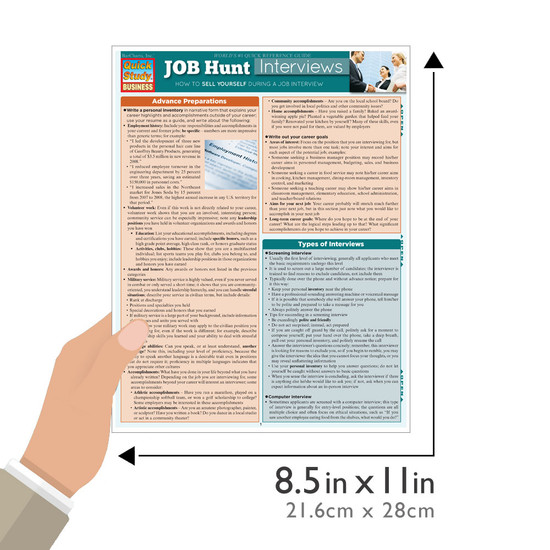 Quick Study QuickStudy Job Hunt: Interviews Laminated Reference Guide BarCharts Publishing Career Reference Guide Size