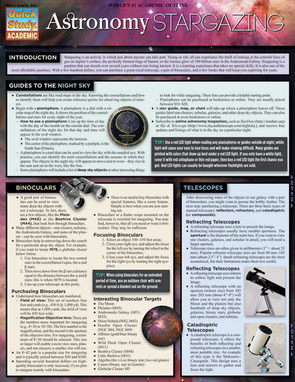 Quick Study QuickStudy Astronomy Stargazing Laminated Study Guide BarCharts Publishing Science Guide Cover Image