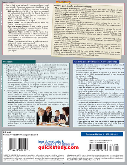 Quick Study QuickStudy Business Communications Laminated Study Guide BarCharts Publishing Career Education Back Image