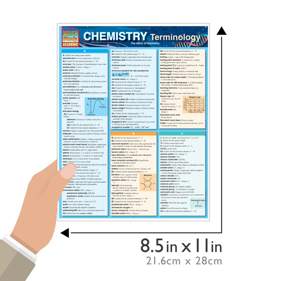 QuickStudy Quick Study Chemistry Terminology Laminated Study Guide BarCharts Publishing Science Size