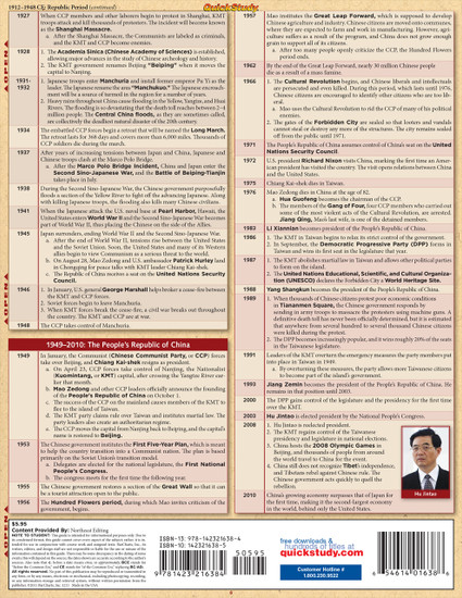Quick Study QuickStudy China History Laminated Study Guide BarCharts Publishing  History Reference Guide Back Image