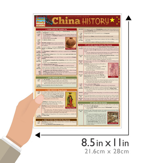 Quick Study QuickStudy China History Laminated Study Guide BarCharts Publishing  History Reference Guide Size