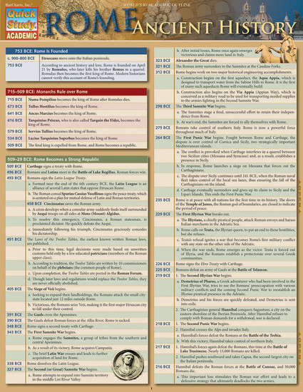 QuickStudy | Rome: Ancient History Laminated Study Guide