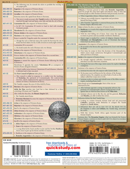 Quick Study QuickStudy Rome: Ancient History Laminated Study Guide BarCharts Publishing World Historical Reference Guide Back Image