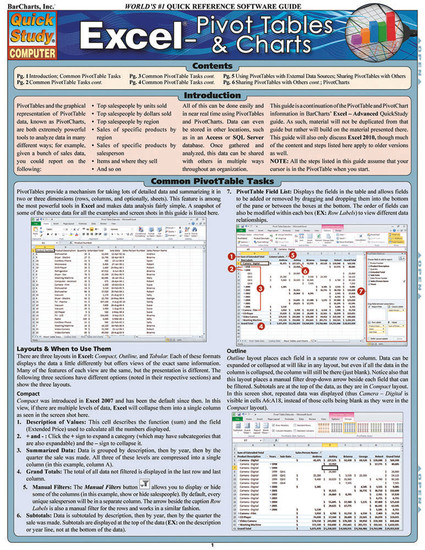 QuickStudy Quick Study Excel: Pivot Tables & Charts Laminated Study Guide BarCharts Publishing Tech Guide Cover Image
