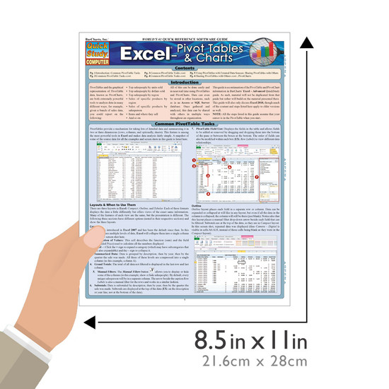 QuickStudy Quick Study Excel: Pivot Tables & Charts Laminated Study Guide BarCharts Publishing Tech Guide Size