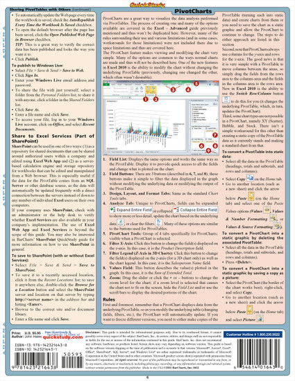 QuickStudy Quick Study Excel: Pivot Tables & Charts Laminated Study Guide BarCharts Publishing Tech Guide Back Image