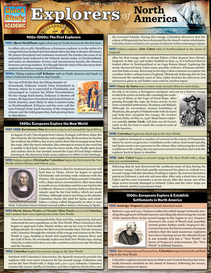 QuickStudy | Explorers Of North America Laminated Study Guide