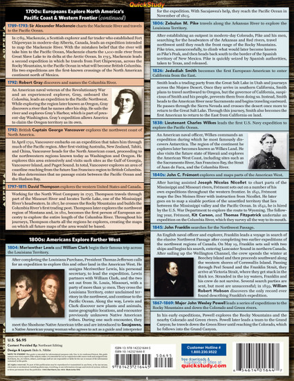 Quick Study QuickStudy Explorers Of North America Laminated Study Guide BarCharts Publishing American History Reference Back Image