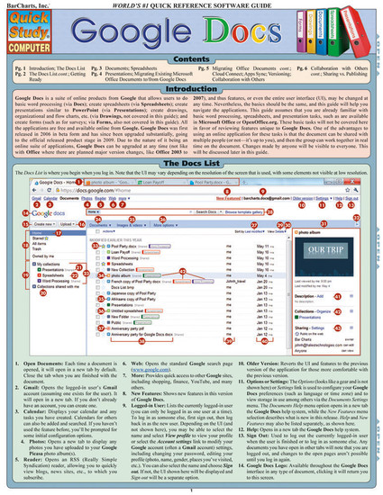 Quick Study QuickStudy Google Docs Laminated Reference Guide BarCharts Publishing Computer Guide Cover Image