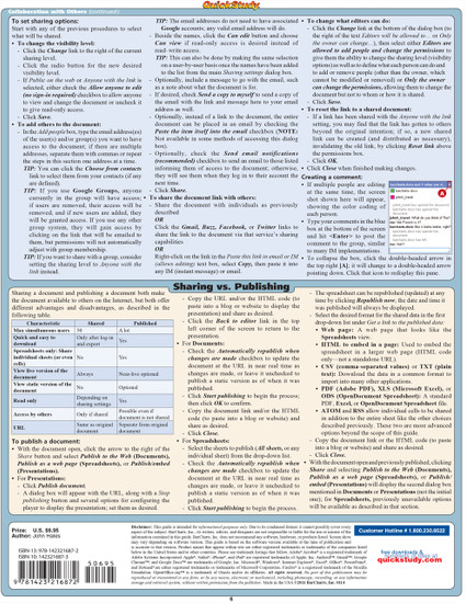 Quick Study QuickStudy Google Docs Laminated Reference Guide BarCharts Publishing Computer Back Image