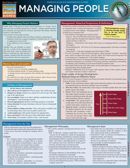 QuickStudy   Managing People Laminated Reference Guide