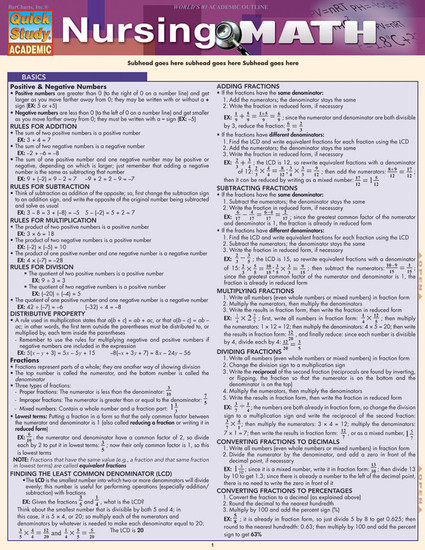 Quick Study QuickStudy Nursing Math Laminated Study Guide BarCharts Publishing Medical Math Guide Cover Image