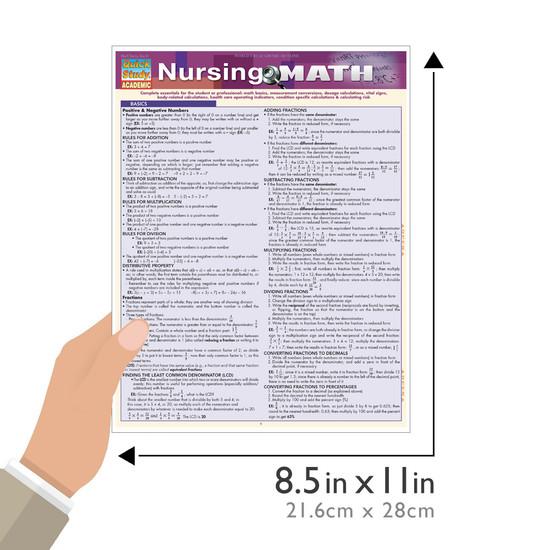 Quick Study QuickStudy Nursing Math Laminated Study Guide BarCharts Publishing Medical Math Guide Size