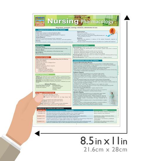 Quick Study QuickStudy Nursing Pharmacology Laminated Study Guide BarCharts Publishing Inc Academic Size