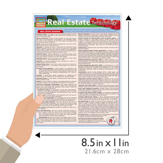 Quick Study QuickStudy Real Estate Terminology Laminated Study Guide BarCharts Publishing Reference Guide Size