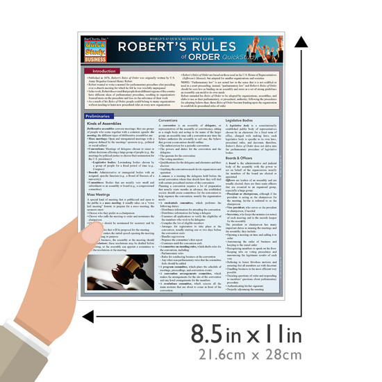 Quick Study QuickStudy Robert's Rules Of Order Laminated Study Guide BarCharts Publishing Academic Reference Guide Size