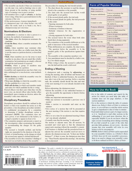 Quick Study QuickStudy Robert's Rules Of Order Laminated Study Guide BarCharts Publishing Academic Reference Guide Back Image