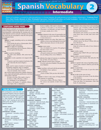 Quick Study QuickStudy Spanish Vocabulary 2: Intermediate Laminated Study Guide BarCharts Publishing Foreign Language Reference Cover Image