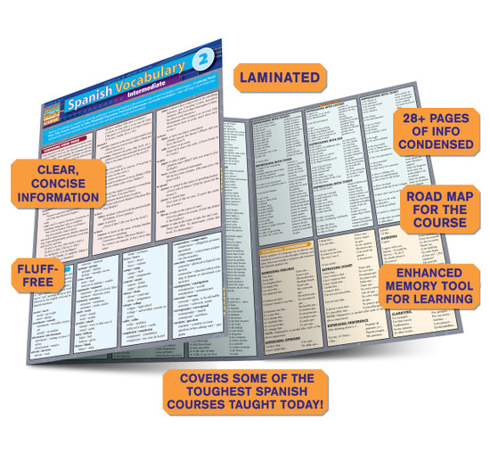 Quick Study QuickStudy Spanish Vocabulary 2: Intermediate Laminated Study Guide BarCharts Publishing Foreign Language Reference Guide Benefits