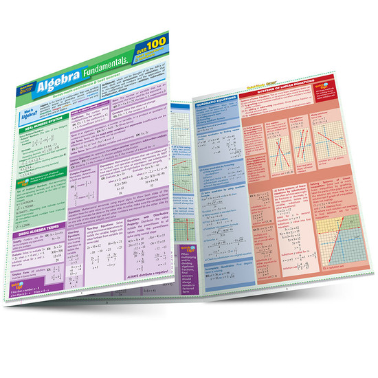 Quick Study QuickStudy Algebra Fundamentals Quizzer Laminated Study Guide BarCharts Publishing Mathematic Reference Guide Main Image