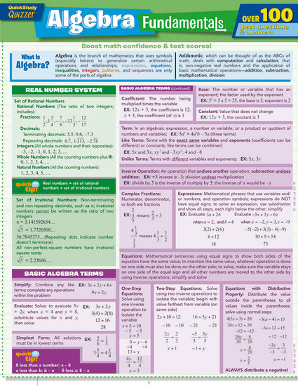 Quick Study QuickStudy Algebra Fundamentals Quizzer Laminated Study Guide BarCharts Publishing Mathematic Reference Guide Cover Image