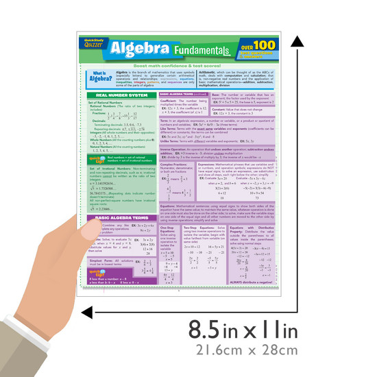 Quick Study QuickStudy Algebra Fundamentals Quizzer Laminated Study Guide BarCharts Publishing Mathematic Reference Guide Size
