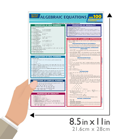 Quick Study QuickStudy Algebraic Equations Quizzer Laminated Study Guide BarCharts Publishing Reference Guide Size