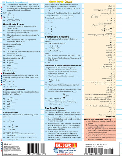 Quick Study QuickStudy Algebraic Equations Quizzer Laminated Study Guide BarCharts Publishing Reference Back Image