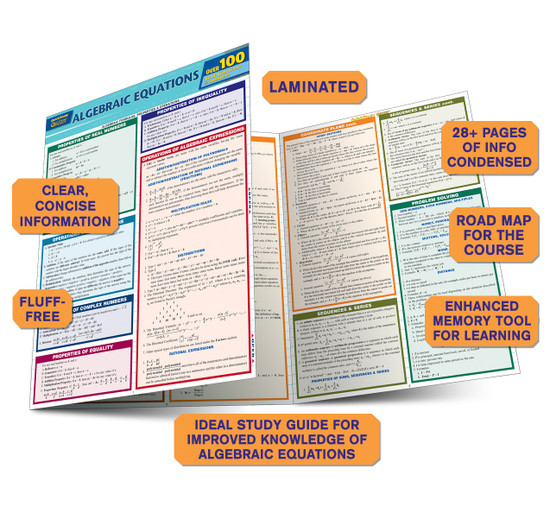Quick Study QuickStudy Algebraic Equations Quizzer Laminated Study Guide BarCharts Publishing Reference Guide Benefits
