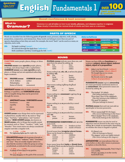 QuickStudy | English Fundamentals 1 Quizzer Laminated Study Guide