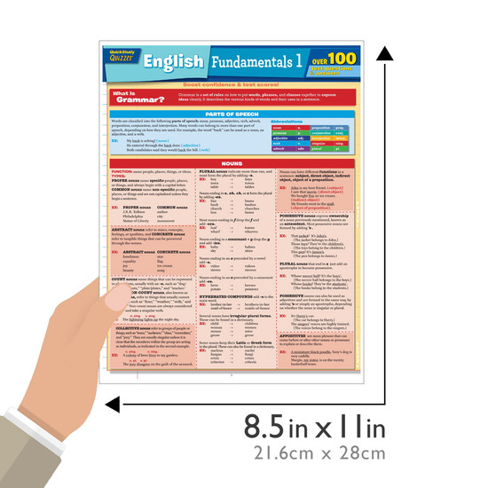 Quick Study QuickStudy English Fundamentals 1 Quizzer Laminated Study Guide BarCharts Publishing Language Arts Study Outline Guide Size